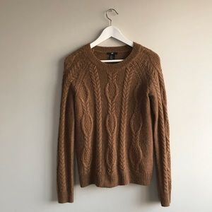 H&M cable knit Camry tan sweater